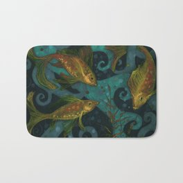 Golden Fish, Black Teal, Underwater Art Bath Mat