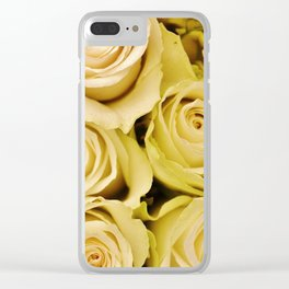 White roses flower pattern Clear iPhone Case