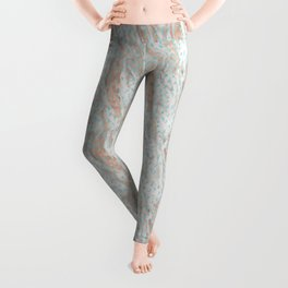 Rose gold metal marble with glitter aqua blue raindrops Leggings