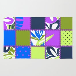 Pokii Hawaiian Hibiscus Flower and Patchwork Designs Rug