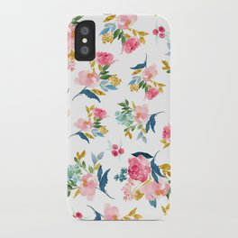 Watercolor Pastel Gold Flowers iPhone Case