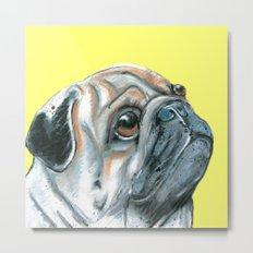 Pug, printed from an original painting by Jiri Bures Metal Print