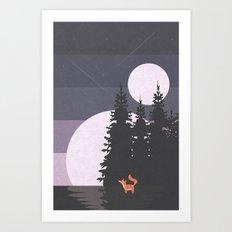 Two Moon Night Art Print