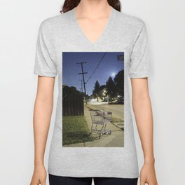 Displaced shopping carriage. Unisex V-Neck