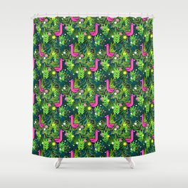 Flamingo and the Tropics Shower Curtain