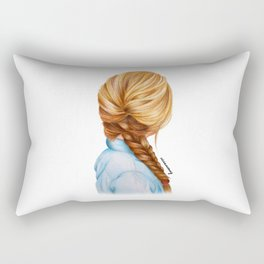 Blonde Fishtail Braid Girl Drawing  Rectangular Pillow