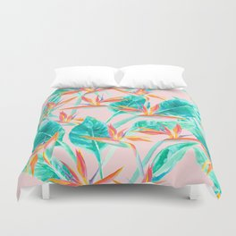 Birds of Paradise Blush Duvet Cover