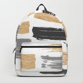 Abstract watercolor black gray gold glitter brushstrokes Backpack