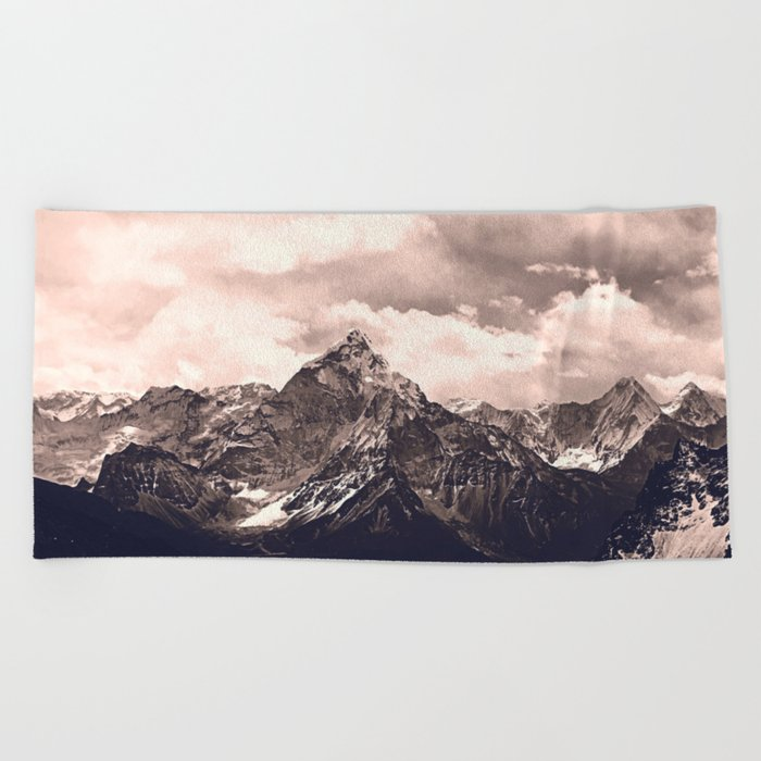 Pink Mountain Beach Towel