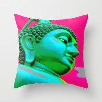buddah Throw Pillows featuring Buddah Head 05; Pink Dachori by Kether Carolus
