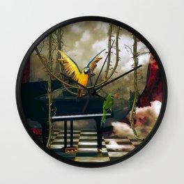 Funny parrots Wall Clock