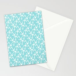 Nautical modern teal white anchor pattern Stationery Cards