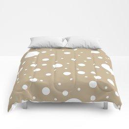 Mixed Polka Dots - White on Khaki Brown Comforters