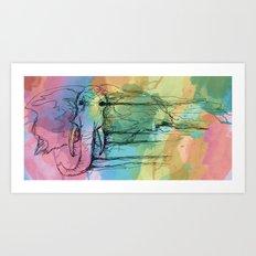 Watercolor for Elephants. Art Print