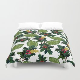 Christmas faux gold red green holly leaves floral Duvet Cover