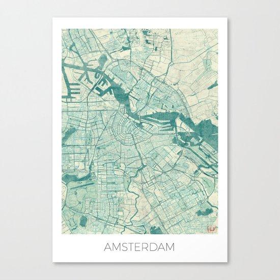 Amsterdam Map Blue Vintage Canvas Print