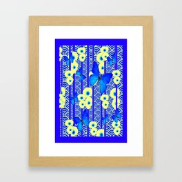 Blue Butterflies Cream-Blue Asia Style Modern Art Framed Art Print