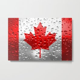 Flag of Canada - Raindrops Metal Print