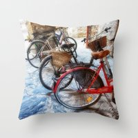 bicycles Throw Pillows featuring Bicycles by Elliott's Location Photography