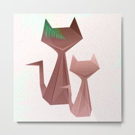 Minimal Iridescent Cats with Fern Metal Print