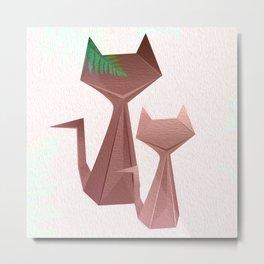Minimal Iridescent Cats with Fern Metal Print