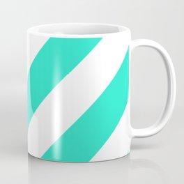 Sea Green and White Striped Diagonal Pattern Coffee Mug