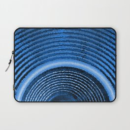 Blue music speaker and sound waves Laptop Sleeve
