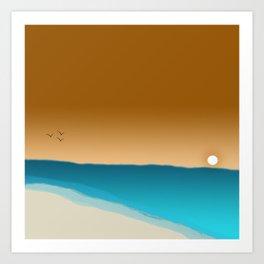 Beach Sunset with birds Art Print