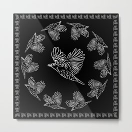World crows. Crows in different framework, round, square. Metal Print