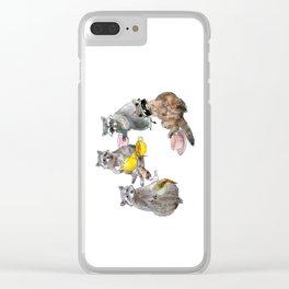 Racoon Tea Party Clear iPhone Case