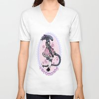 xenomorph V-neck T-shirts featuring Lolified Xenomorph by Mindful Merry