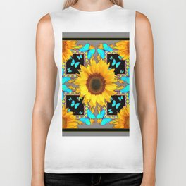 Southwest Sunflowers & Turquoise Butterflies Grey Art Biker Tank