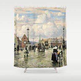 Paul Gustav Fischer - A Scene From Knippelsbro, Bridge In Copenhagen, When The Artist Was A Boy Shower Curtain