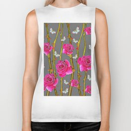 WHITE BUTTERFLIES & PINK ROSE THORN CANES  GREY ART Biker Tank