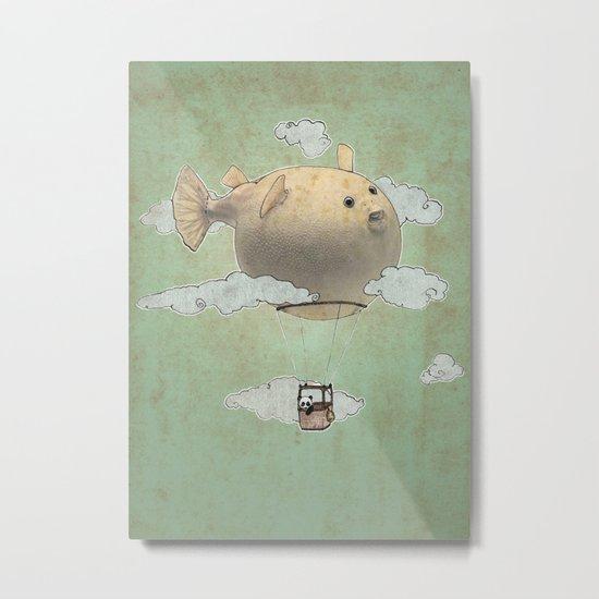 Panda fliying in a Blow fish. Metal Print