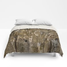 Cream Cement and Gnarled Wood Patterns Comforters