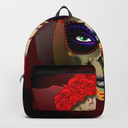 Skull Girl Dia de los Muertos Portrait Backpack