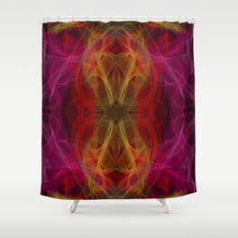 Abstract and symmetrical texture in the form of colorful smoke clouds. Shower Curtain