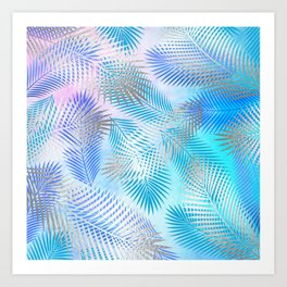 Watercolor and Silver Feathers on Watercolor Background Art Print