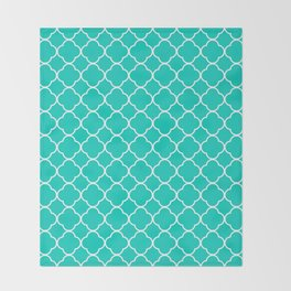 Aqua Blue Quatrefoil Clover Pattern Throw Blanket