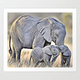 Elephant Family Airbrush Artwork Art Print