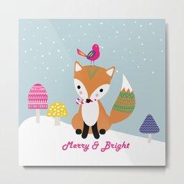Vintage Christmas Fox Metal Print