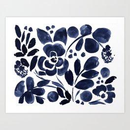 Navy Floral Kunstdrucke