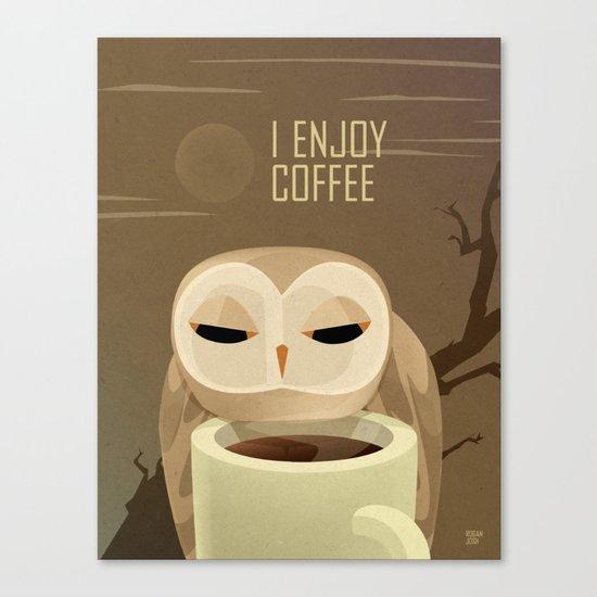Owl Enjoys Coffee Canvas Print