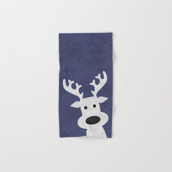 Christmas reindeer blue marble Hand & Bath Towel