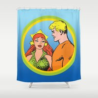 aquaman Shower Curtains featuring Aquaman and Mera Get Married Underwater by Hoboxia