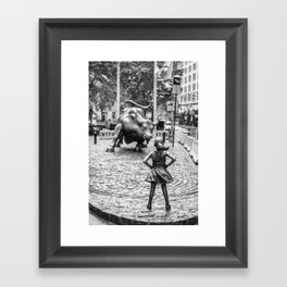 Fearless Girl & Charging Bull in the rain Framed Art Print