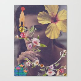 Woman, Roses & Chicken Canvas Print