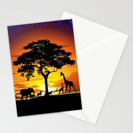 Wild Animals on African Savanna Sunset Stationery Cards