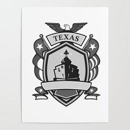 Texas Battleship Badge Grayscale Poster